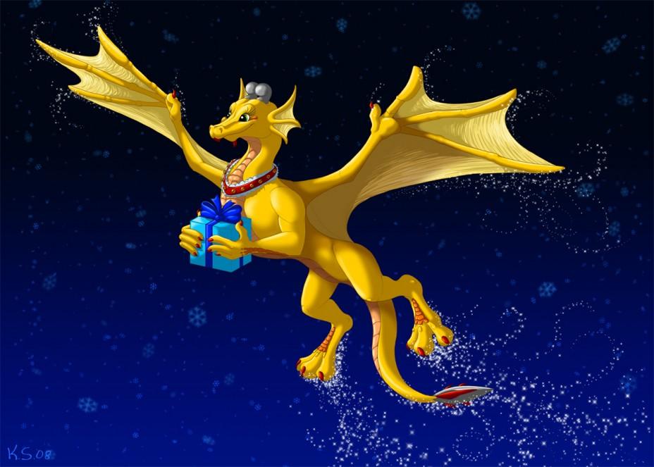Открытки с новогодним драконом